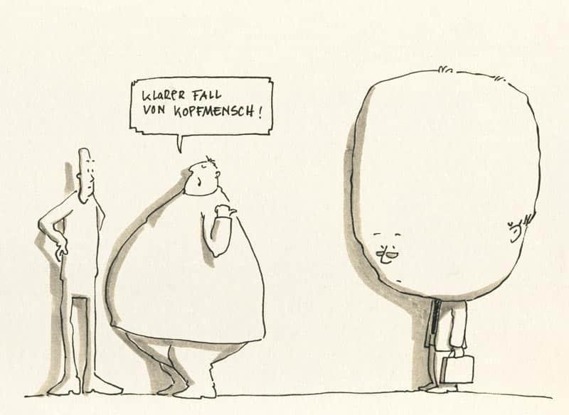 Kopfmensch Karikatur