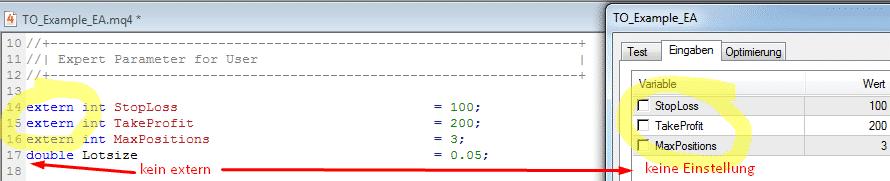 Expert Advisor Parameter
