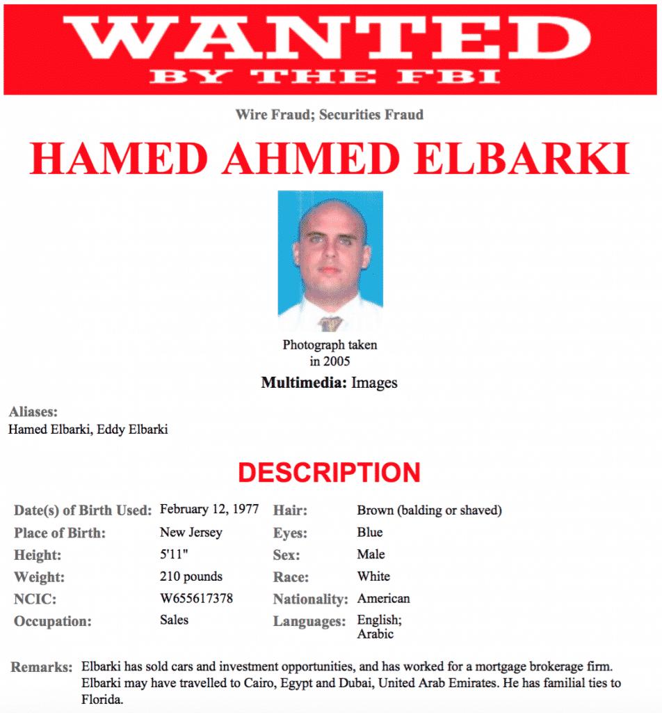 FBI-Fahndungsplakat von Hamed Ahmed Elbarki